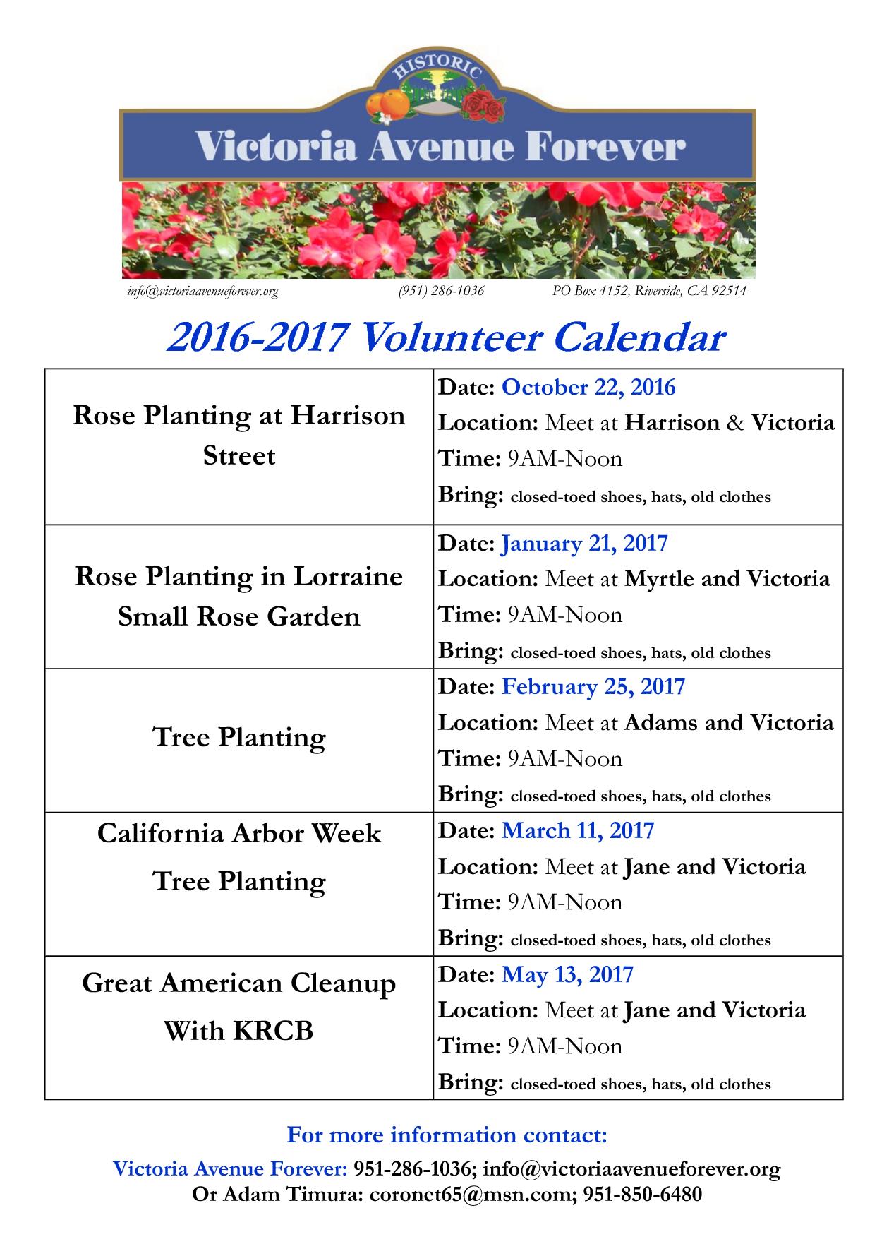 volunteer calendar 2015-16